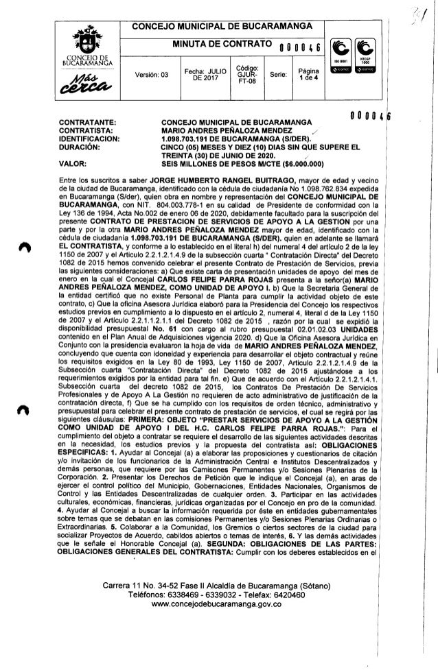CONCEJO MUNICIPAL DE BUCARAMANGA~ •., .....*.:.~e .••.•........ 1 CONCElO DE BUCARAMANGA MINUTA DE CONTRATO O O O O 4 6 Có...