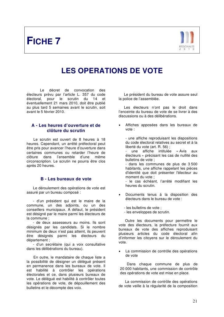 Dossier de presse regionales 2010 - Heure ouverture bureau vote ...