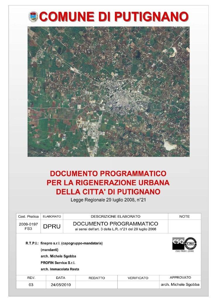 Documento Programmatico per la Rigenerazione Urbana della città di Putignano