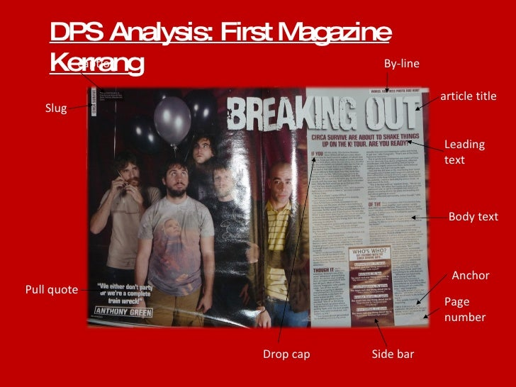 DPS Analysis: First Magazine Kerrang By-line article title Leading text Body text Page number Side bar Drop cap Pull quote...