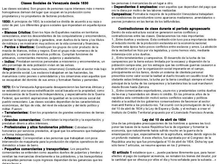 Clases Sociales de Venezuela desde 1830                            las personas ó mercancías de un lugar a otro.          ...