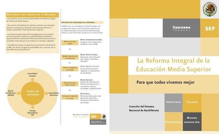Maestros: los líderes de la Reforma  • Los maestros son los actores fundamentales en la Reforma Integral  de la Educación ...