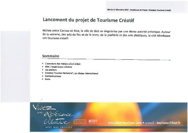 Lancement du project de tourisme créatif - biot, 17/12/2012