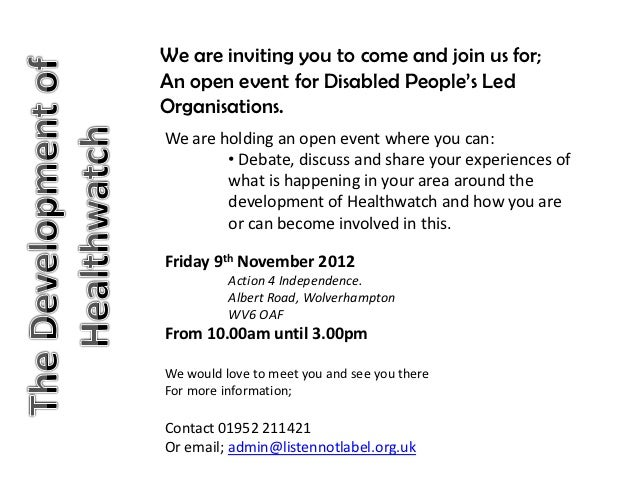 We are inviting you to come and join us for;An open event for Disabled People's LedOrganisations.We are holding an open ev...