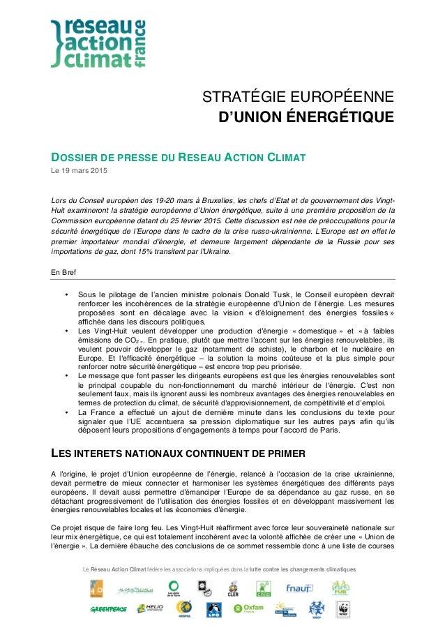 Le Réseau Action Climat fédère les associations impliquées dans la lutte contre les changements climatiques STRATÉGIE EURO...
