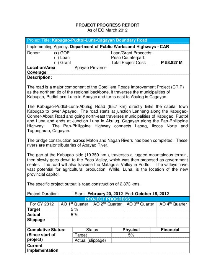 PROJECT PROGRESS REPORT                              As of EO March 2012Project Title: Kabugao-Pudtol-Luna-Cagayan Boundar...