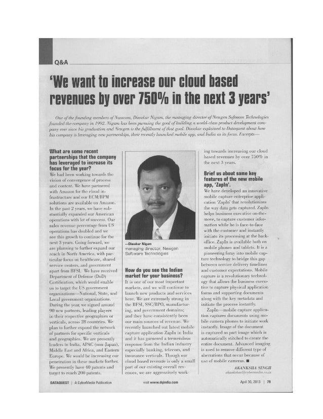Diwakar Nigam, CEO - Newgen Software in conversation with DATAQUEST (Article)