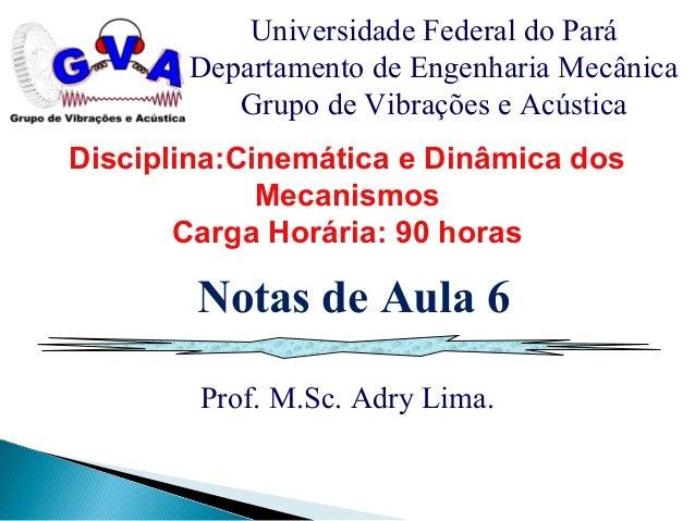 Prof. M.Sc. Adry Lima. Universidade Federal do Pará Departamento de Engenharia Mecânica Grupo de Vibrações e Acústica Nota...