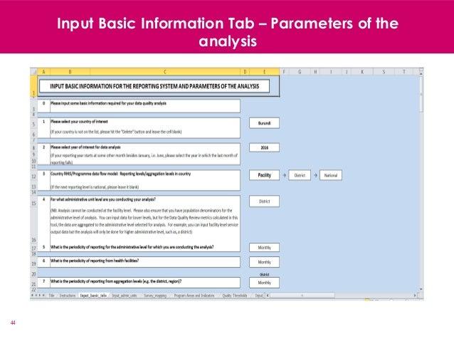 44 Input Basic Information Tab – Parameters of the analysis