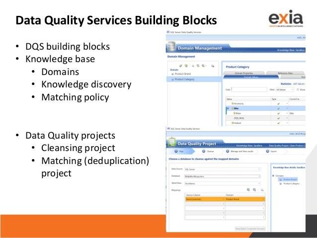 Data Quality Services Building Blocks • DQS building blocks • Knowledge base • Domains • Knowledge discovery • Matching po...