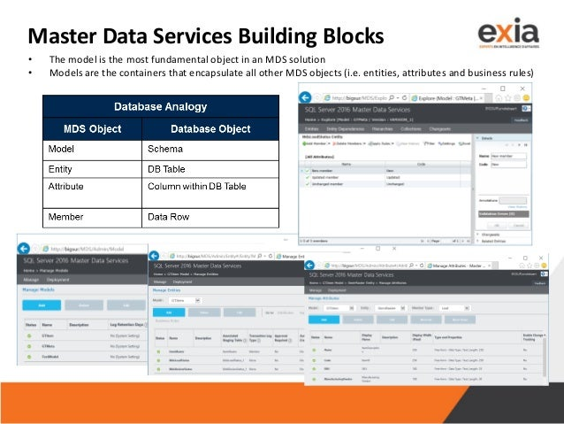 Master Data Services Building Blocks • The model is the most fundamental object in an MDS solution • Models are the contai...