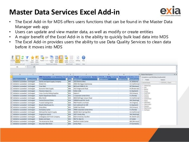 Master Data Services Excel Add-in • The Excel Add-in for MDS offers users functions that can be found in the Master Data M...
