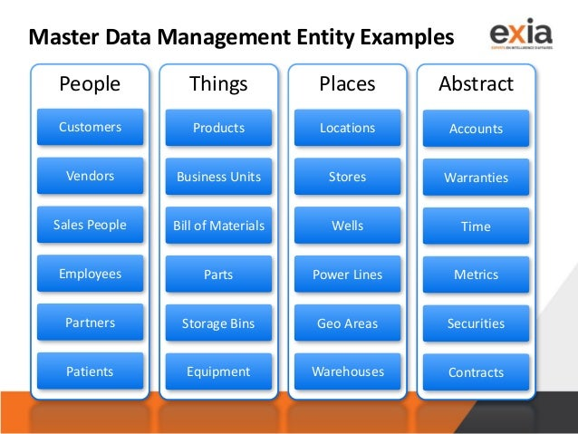 Master Data Management Entity Examples People Things Places Abstract Customers Vendors Sales People Employees Partners Pat...