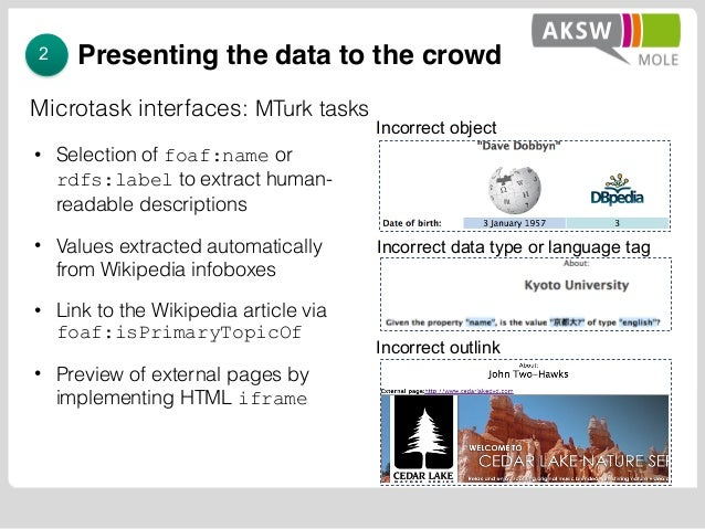 Presenting the data to the crowd • Selection of foaf:name or rdfs:label to extract human- readable descriptions • Values e...