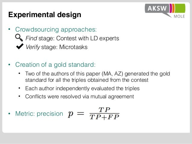Experimental design • Crowdsourcing approaches: • Find stage: Contest with LD experts • Verify stage: Microtasks • Creatio...