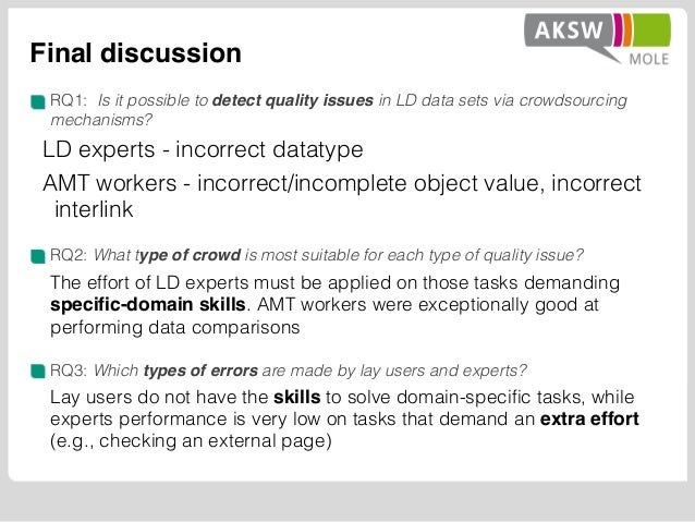Final discussion RQ1: Is it possible to detect quality issues in LD data sets via crowdsourcing mechanisms? LD experts - i...
