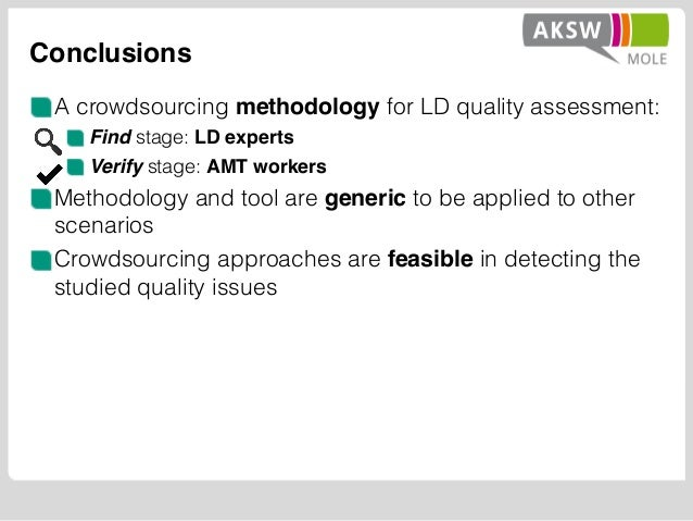 Conclusions A crowdsourcing methodology for LD quality assessment: Find stage: LD experts Verify stage: AMT workers Method...