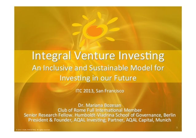 © 2012 AQAL Investing. All rights reserved. 1  1   © 2012 AQAL INVESTING. All rights reserved. ITC  2013,  San  ...