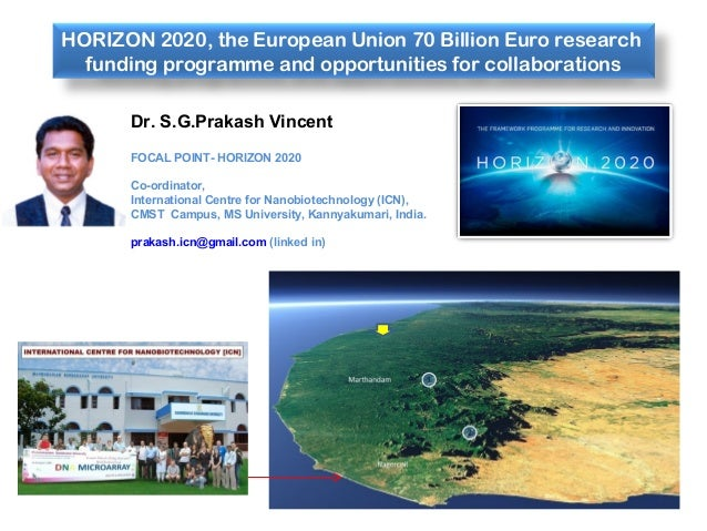 HORIZON 2020, the European Union 70 Billion Euro research funding programme and opportunities for collaborations Dr. S.G.P...