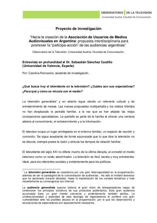 """Proyecto de investigación """"Hacia la creación de la Asociación de Usuarios de Medios Audiovisuales en Argentina: propuesta ..."""