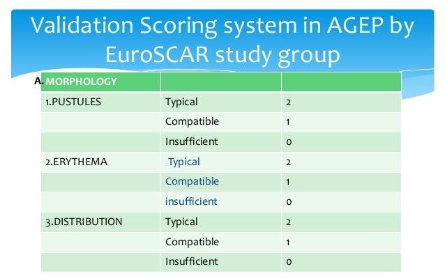 INTERPRETATION 0 No AGEP 1 – 4 Possible 5 – 7 Probable 8 - 12 Definite chance of AGEP Interpretation of the validation sco...