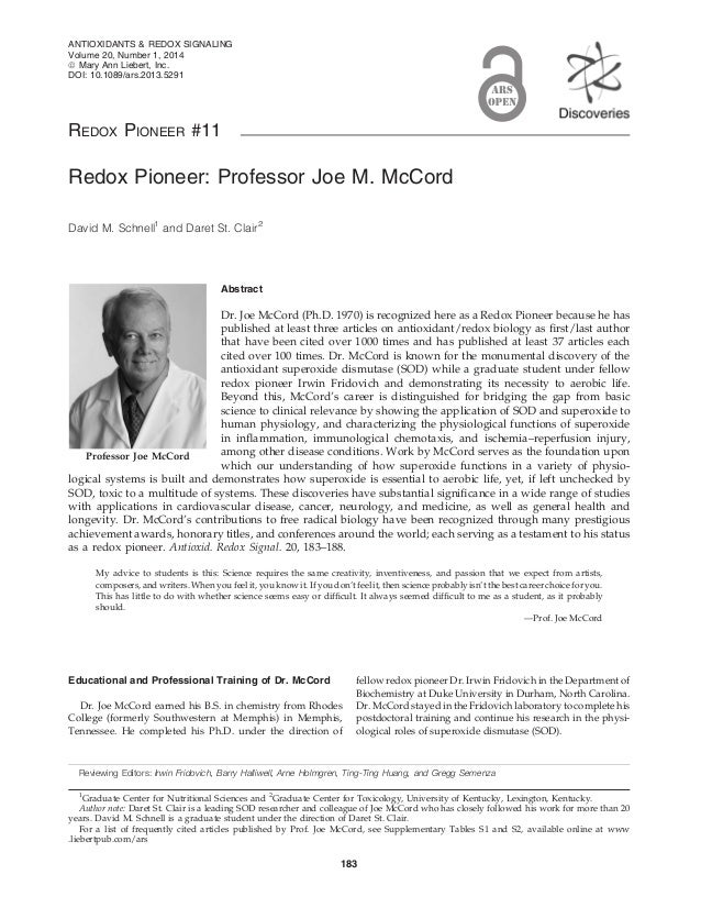 REDOX PIONEER #11 Redox Pioneer: Professor Joe M. McCord David M. Schnell1 and Daret St. Clair2 Abstract Dr. Joe McCord (P...