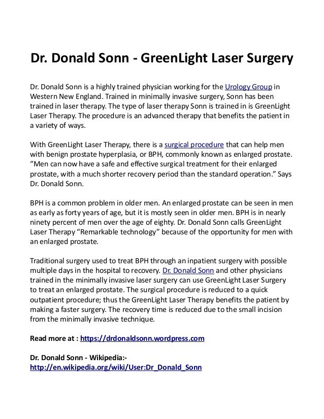 Dr. Donald Sonn   GreenLight Laser Surgery Dr. Donald Sonn Is A Highly  Trained