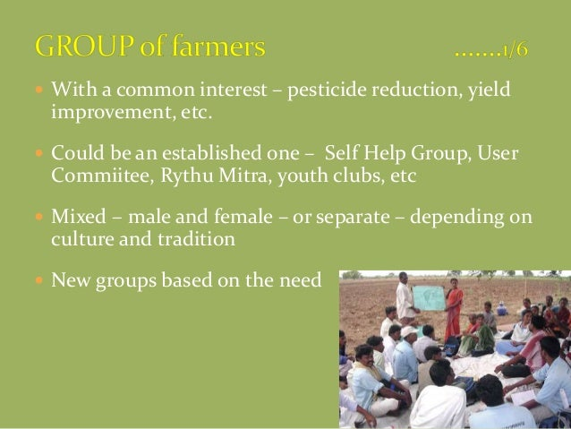  With a common interest – pesticide reduction, yield improvement, etc.  Could be an established one – Self Help Group, U...