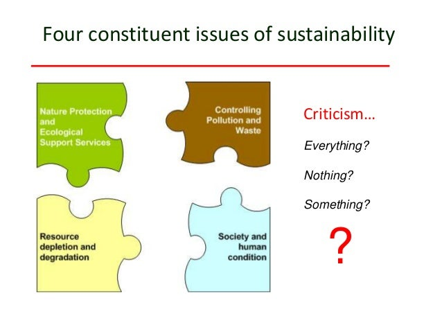 Everything? Nothing? Something? Four constituent issues of sustainability ? Criticism…