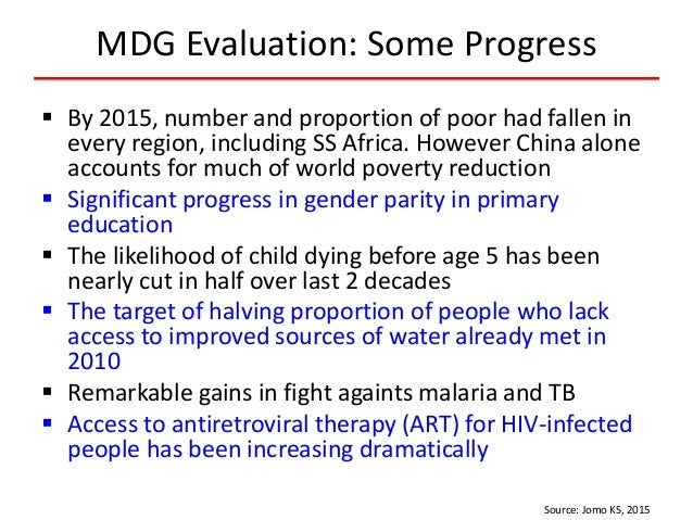 MDG Evaluation: Some Progress  By 2015, number and proportion of poor had fallen in every region, including SS Africa. Ho...