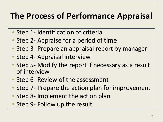 13 The Process of Performance Appraisal • Step 1- Identification of criteria • Step 2- Appraise for a period of time • Ste...