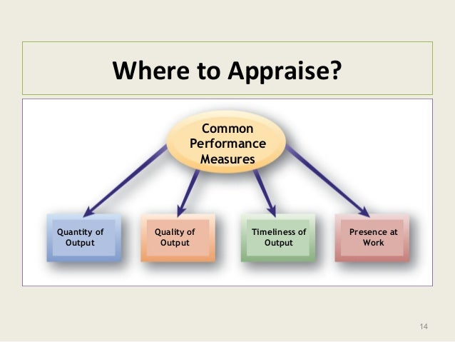14 Where to Appraise? Common Performance Measures Quantity of Output Quality of Output Timeliness of Output Presence at Wo...