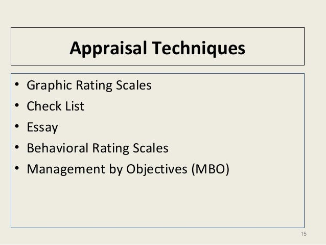 15 Appraisal Techniques • Graphic Rating Scales • Check List • Essay • Behavioral Rating Scales • Management by Objectives...