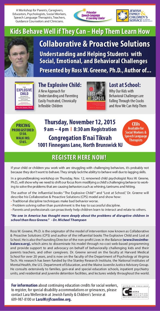 Dr Ross Greene Educating Kids Who Have >> Ross Greene Presentation Thursday November 12 North Brunswick Nj