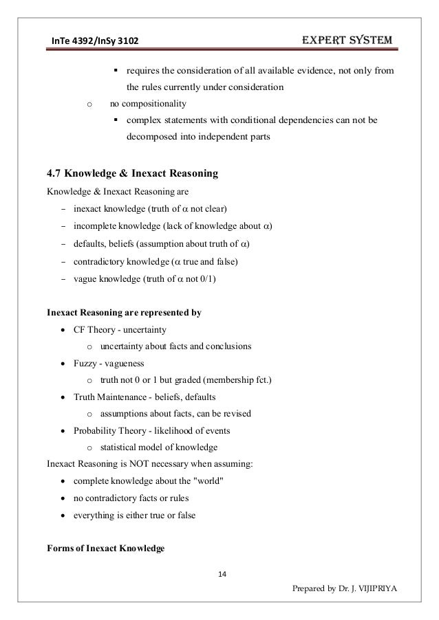 Expert System Lecture Notes Chapter 12345 Drjjipriya