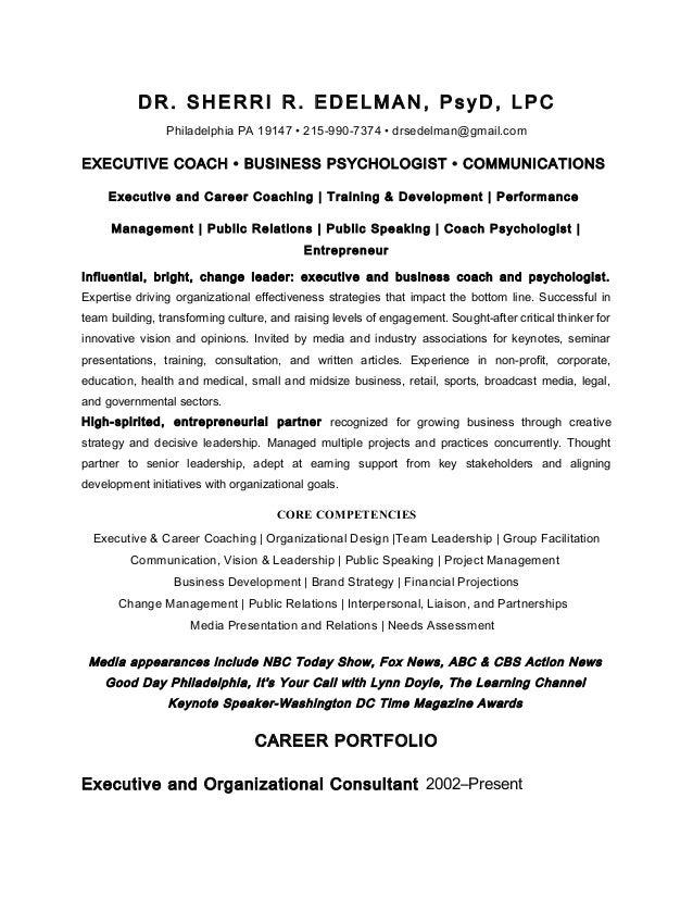 Dr. Sherri Edelman-Resume: Coach Psychology/Communications Leadership