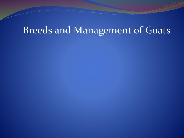 Breeds and Management of Goats
