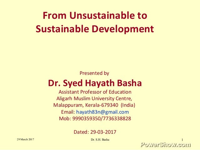 From Unsustainable Development to Sustainable Development