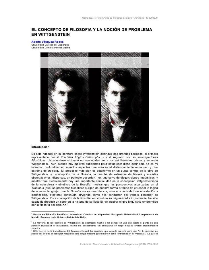 Nómadas. Revista Crítica de Ciencias Sociales y Jurídicas | 13 (2006.1)EL CONCEPTO DE FILOSOFIA Y LA NOCIÓN DE PROBLEMAEN ...