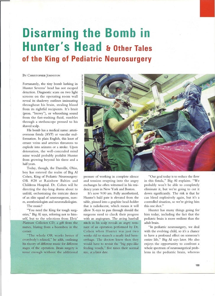 •          Disarming the Bomb In          Hunter's Head & Other Tales          of the King of Pediatric Neurosurgery      ...