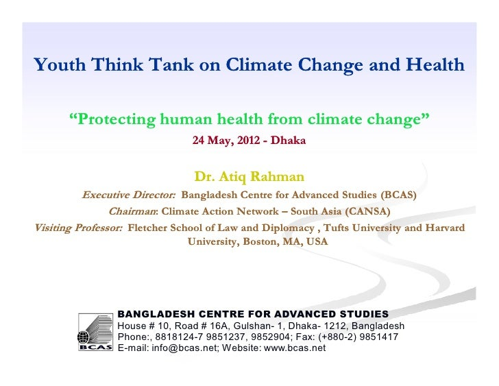 """Youth Think Tank on Climate Change and Health       """"Protecting human health from climate change""""                         ..."""