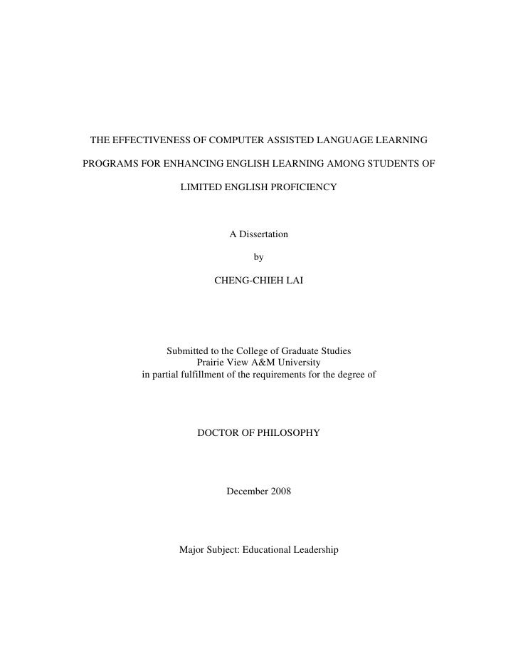 THE EFFECTIVENESS OF COMPUTER ASSISTED LANGUAGE LEARNINGPROGRAMS FOR ENHANCING ENGLISH LEARNING AMONG STUDENTS OF         ...