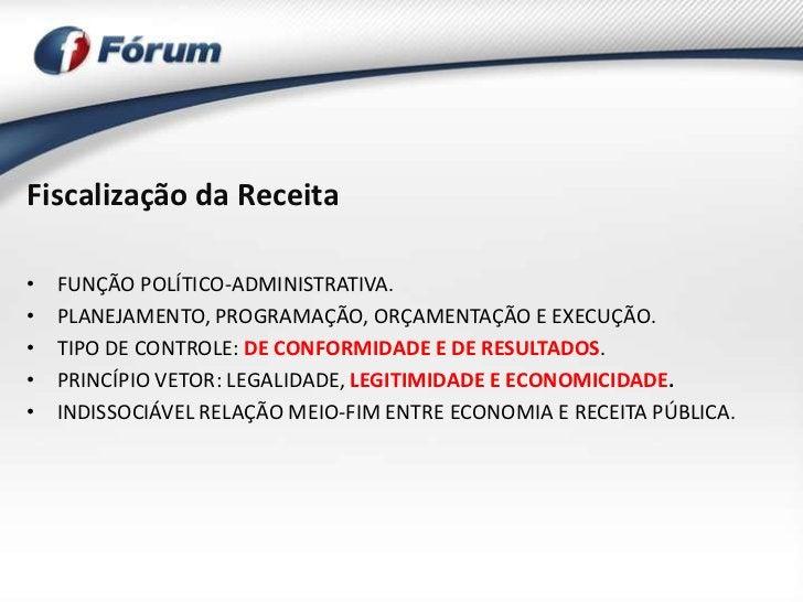Fiscalização da Receita•   FUNÇÃO POLÍTICO-ADMINISTRATIVA.•   PLANEJAMENTO, PROGRAMAÇÃO, ORÇAMENTAÇÃO E EXECUÇÃO.•   TIPO ...