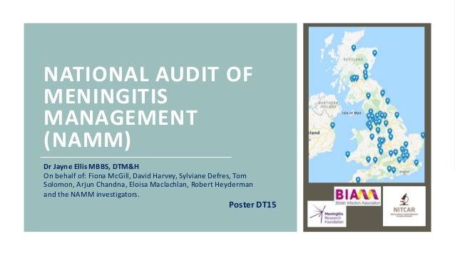 NATIONAL AUDIT OF MENINGITIS MANAGEMENT (NAMM) Dr Jayne Ellis MBBS, DTM&H On behalf of: Fiona McGill, David Harvey, Sylvia...