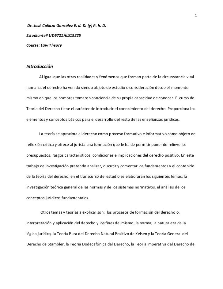 1Dr. José Collazo González E. d. D. (y) P. h. D.Estudiante# UD6721HLS13225Course: Law TheoryIntroducción       Al igual qu...