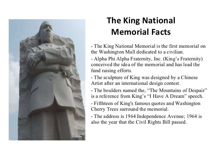 The king national memorial facts for Facts about the monument