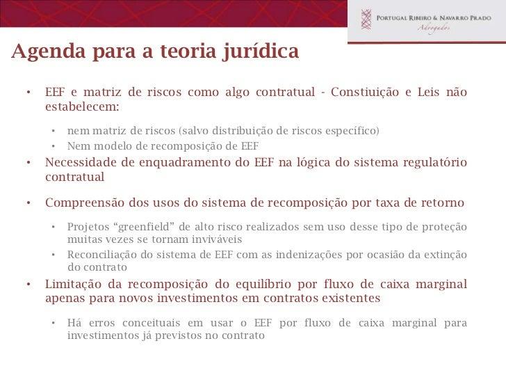 Agenda para a teoria jurídica •   A idéia de fazer avaliação de investimento e custos operacionais com     base em mercado...