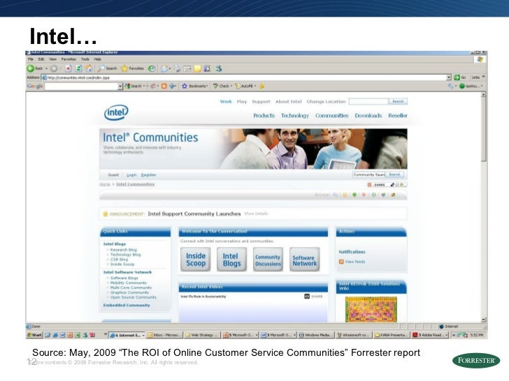 """Intel… Source: May, 2009 """"The ROI of Online Customer Service Communities"""" Forrester report"""