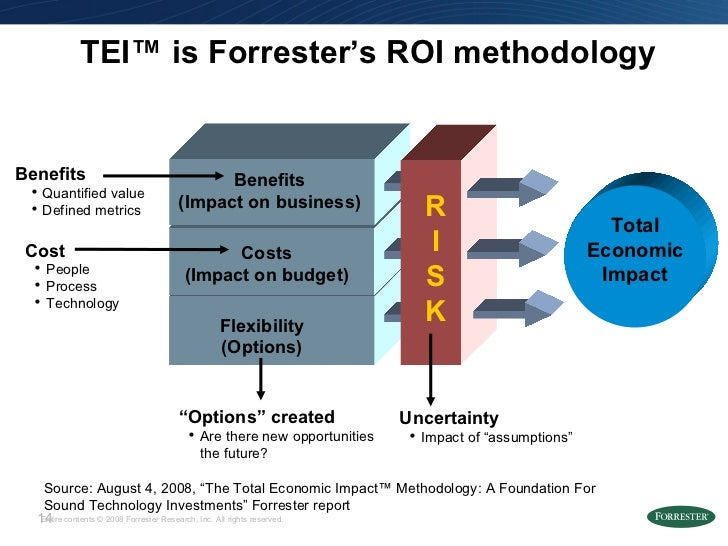TEI ™  is Forrester's ROI methodology Costs (Impact on budget) Benefits (Impact on business) Flexibility (Options) R I S K...
