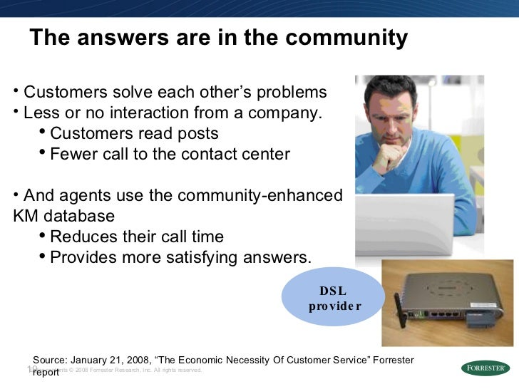 """The answers are in the community Source: January 21, 2008, """"The Economic Necessity Of Customer Service"""" Forrester report <..."""